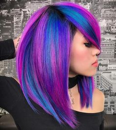 Pink and blue neon hair hair color ideas in 2019 окрашива. Bold Hair Color, Bright Hair, Galaxy Hair Color, Pink Hair Colors, Peacock Hair Color, Chic Hairstyles, Hairstyles With Bangs, Wedding Hairstyles, Shoulder Length Hair With Bangs