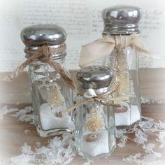 Making salt shaker snow globes with bottle brush trees in neutral  — pleasure in simple things blog