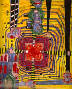 """As requested, more Hundertwasser. """"The Straight Line Leads to The Downfall of Humanity"""" — Friedensreich Hundertwasser Friedensreich Hundertwasser, Motif Art Deco, Art Ancien, Inspiration Art, Norman Rockwell, Outsider Art, Art Design, Art Plastique, Oeuvre D'art"""