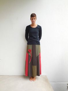 Womens Skirt Women's TShirt Skirt Recycled Upcycled Brown by ohzie