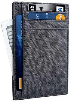 Travelambo Front Pocket Wallet Minimalist Wallets Leather Slim Wallet RFID Blocking (Crosshatch black)