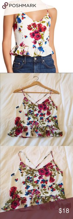 """Floral Peplum Cami In great condition. Approx. length is 21"""" Tops Crop Tops"""