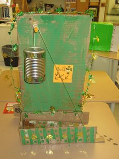 Leprechaun traps using 2 simple machines. March Tinkering & Engineering activity using a wedge, pulley, lever, incline, etc. (Via Falmouth St Patricks Day Crafts For Kids, St Patrick's Day Crafts, Fun Crafts, Holiday Crafts, School Projects, Projects For Kids, Diy For Kids, Stem Projects, Project Ideas