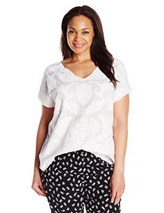 Lucky Brand Women's Plus-Size Mesh Front Top, Lucky White, 3X- #fashion #Apparel find more at lowpricebooks.co - #fashion