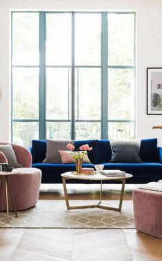 The Tivoli two-seater sofa in indigo velvet. This deep blue tone in velvet is sure to make a statement. A simple mid-century inspired sofa, the Tivoli brings a little architecture to your living room Blue And Pink Living Room, Blue Velvet Sofa Living Room, Blush Living Room, Living Room Chairs, Living Room Ideas Velvet, Navy Blue Velvet Sofa, Navy Sofa, Dining Chairs, Blue Living Room Decor