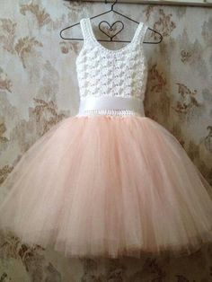 Crochet Dress Tutu Ideas New Ideas Blush Flower Girl Dresses, Girls Tutu Dresses, Flower Girl Tutu, Tutus For Girls, Little Girl Dresses, Flower Girls, Crochet Tutu Dress, Tulle Dress, Crochet Clothes