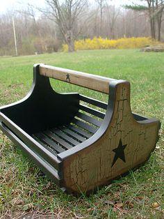 Primitive wood newspaper basket