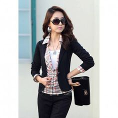 Slimming OL Style Single Button Lapel Solid Color Long Sleeve Women's Cotton Blazer, BLACK, XL in Blazers   DressLily.com