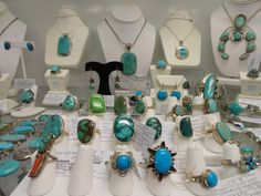 Assortment of Jewelry at Brass Armadillo Mall, this is just one of our lovely jewelry cases... we range from turquoise, to rhinestones, to bakelite, and much more.   www.brassarmadillo.com/phoenix