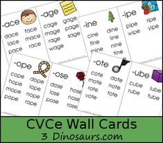 3 Dinosaurs - CVCe Word Family Wall Cards