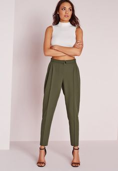 white crop top + olive high waisted trousers