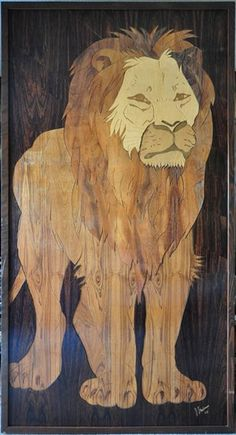 Huge wood inlay artwork depicting a lion by D. Stedman