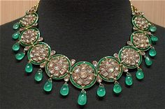Fine Majarani Style Indian Collar Necklace of Emeralds and Diamonds in Gold Fine Jewelry from India Moghul Style Diamond Jewelry Indian Wedding Jewelry Finery for Indian Brides Emerald Jewelry, Diamond Jewelry, Gold Jewelry, Jewelery, Fine Jewelry, Diamond Necklaces, Choker Necklaces, Lotus Jewelry, Diamond Choker