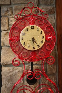 Red HOT Vintage Clock by Act2VintageDecor on Etsy,
