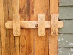 Sliding wood gate latch. Barn door latch