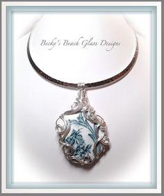Blue & White Bermuda Sea Pottery Mega Necklace, $129.00 | Becky\'s ...