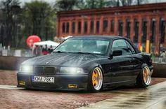 BMW E36 3 series black cabrio slammed deep dish rain