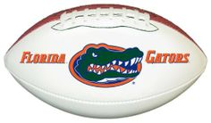 NCAA Florida Gators Official Size Synthetic Leather Autograph Football by GameMaster. $19.99. An excellent way to display your team spirit in any room or office.. Printed High Quality Official Florida Gators Logo on One White Panel. One Official Size Synthetic Leather Football with three white panels and one brown pebble panel.. The three bright white panels allow plenty of space for autographs of your favorite players and coaches.. NCAA Florida Gators Official S...
