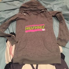 Huskies Hoodie Very Soft Material. No rips/stains. Tunic-like as it is longer & more of a slender cut. Marked size Med - I feel this fits more of a juniors size XS-Sm. Comes from a nonsmoking with fluffy furkids home. Bundle to Save Even More  Tops Sweatshirts & Hoodies