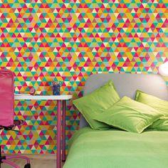 Papel de parede geométrico triângulos coloridos 009