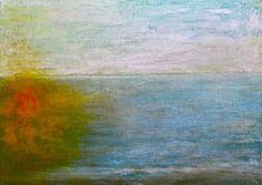 Ca0072 Óleo tela 70x50x2 cm  Sol en el mar
