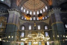 Beautifully decorated New Valide Mosque, Istanbul.