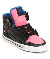 Supra Vaider Black Zebra, Pink & Royal Nubuck Girls Skate Shoe