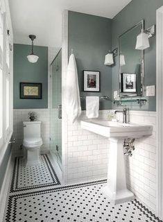 adding dark green bathroom interior tiles to your bathroom 1 Black And White Tiles Bathroom, White Bathroom Decor, Bathroom Interior Design, Classic Bathroom Design Ideas, Small Bathroom Ideas, Classic White Bathrooms, Small Bathroom Paint, Bathroom Paint Colors, Interior Livingroom