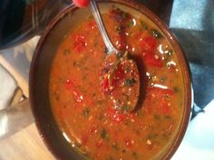 Red quinoa, black bean broth, spinach, diced tomatoes, and basil pesto yummmm.. Dinner for tonight