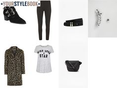 Give a leopard print coat a rock inspired twist with a graphic t-shirt and buckled boots.