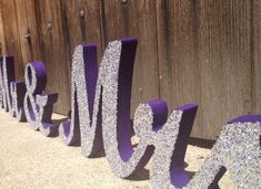 Purple with silver glitter wedding sign spelling Mr and Mrs and Reception, and Accessories, and Fashion, Purple And Silver Wedding, Glitter Wedding, Silver Glitter, Lilac Wedding, Peacock Wedding, Purple Wedding Centerpieces, Wedding Decorations, Aisle Decorations, Our Wedding