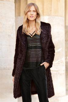 Lipsy Loves Michelle Keegan Faux Fur Wrap Coat | Winter Coats 2016 ...