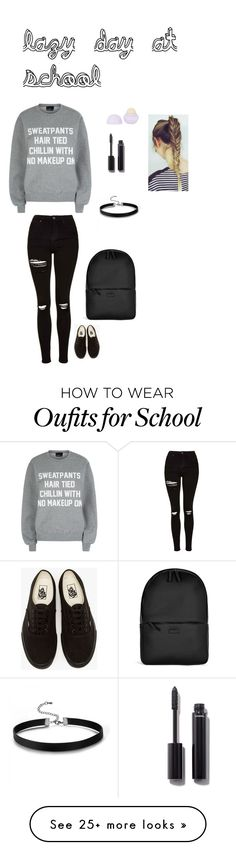 """""""lazy day at school"""" by faith5432 on Polyvore featuring Private Party, Topshop, Vans, Rains and Chanel"""