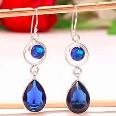 BLUE-SAPPHIRE-GEMSTONE-925-SILVER-JEWELRY-EARRING-2-26-034 Sapphire Gemstone, Blue Sapphire, Sterling Silver Jewelry, 925 Silver, Drop Earrings, Gemstones, Handmade, Hand Made, Gems