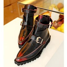 5916c1eb4353 Men Burgundy Leather Pointy Goth Fashion Dress Ankle Boots SKU-1280719