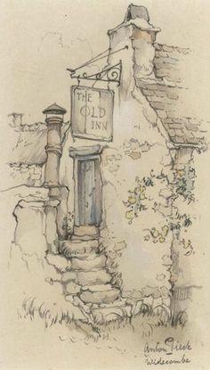 drawings of sketches Watercolor Sketch, Watercolor Landscape, Watercolor Paintings, Pencil Art Drawings, Drawing Sketches, Fairy Drawings, Arte Sketchbook, Landscape Drawings, Landscape Sketch