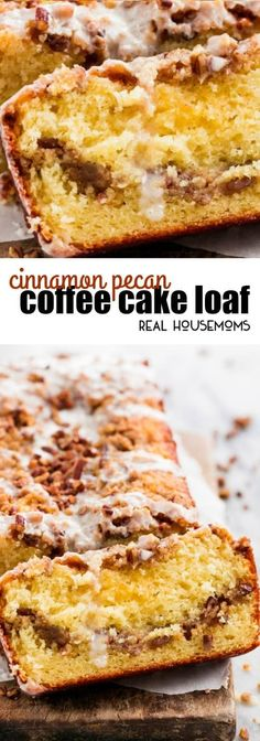 Cinnamon Pecan Coffee Cake Loaf is moist, flavorful, and easy to make. Perfect f… Cinnamon Pecan Coffee Cake Loaf is moist, flavorful, and easy to make. Perfect for special occasions and holiday mornings! via Real Housemoms Apple Coffee Cakes, Coffee Cake Muffins, Cinnamon Pecans, Cinnamon Coffee, Coffee Coffee, Cinnamon Loaf, Easy Coffee, Coffee Ideas, Coffee Meme