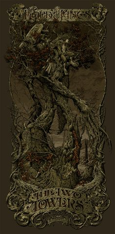 Absolutely amazing Art of Treebeard with the hobbits from Lord of the Rings the Two Towers by Aaron Horkey