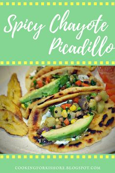 Spicy Chayote Picadillo - I added this here because the veggies used in this dish can be changed to Gourmet Recipes, Vegan Recipes, Chayote Recipes, Lower Carb Meals, Vegetable Prep, Low Carb Tortillas, Wellness, Food Print, Easy Meals