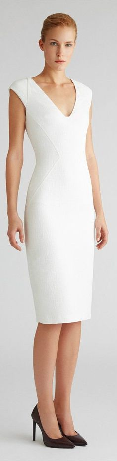 simple white midi dress @roressclothes closet ideas #women fashion outfit #clothing style apparel