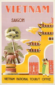 Affiche vintage de promotion touristique de Saigon datée de 1962