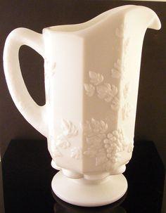 Vintage Milk Glass Pitcher Westmoreland Paneled Grape Pattern.   Available at: www.TidBitz.etsy.com, $10.00