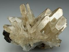 CERUSSITE (reticulated crystal habit)   (also known as lead carbonate or white lead ore) is a mineral consisting of lead carbonate (PbCO3), and an important ore of lead.   Tsumeb Mine, Tsumeb, Otjikoto Region, Namibia, Africa