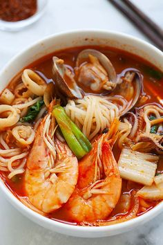 Personalized Graduation Gifts - Ideas To Pick Low Cost Graduation Offers Korean Seafood Noodle Soup Jjamppong - Rasa Malaysia Chinese Food Recipes, Asian Recipes, Healthy Recipes, Healthy Food, Korean Soup Recipes, Asian Desserts, Chinese Desserts, Seafood Soup Recipes, Spicy Seafood Ramen Recipe