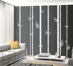 Bamboo Wall Decal 100inch Tall Set of 8 Bamboo Stalks Vinyl Wall Decal, Home decor, Vinyl Wall Art Decor, Tree Wall Decal. $89.00, via Etsy.