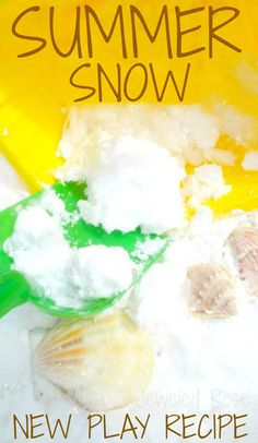 Summer Snow- a super fluffy and icy cold frozen powder from Growing a Jeweled Rose! What kid wouldn't love to keep cool in the Summer by playing in the snow? Not only is Summer Snow AMAZING to play with, but it couldn't be easier to make! Sensory Activities, Sensory Play, Summer Activities, Toddler Activities, Sensory Table, Sensory Bins, Snow In Summer, Summer Kids, Winter Fun
