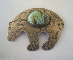 Signed Vintage Navajo Hand Stamped Sterling Silver & Turquoise Bear Fetish Pin | eBay