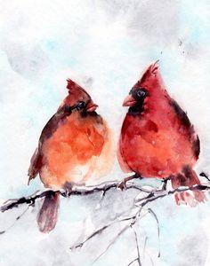 Birds Watercolor Print, Northern Cardinals Couple Watercolor Painting Art Print