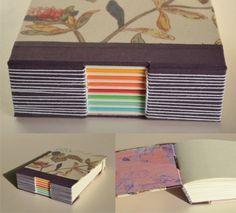 encuadernación puntada de ojal   signatures of different colors = colorful binding