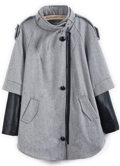 Grey Contrast PU Leather Epaulet Pockets Coat 29.99